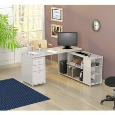 Inval L-shaped Computer Workstation ($450) ❤ liked on Polyvore featuring home, furniture, desks, white, white shelf, chrome storage shelves, white shelving, storage desk and white storage shelf