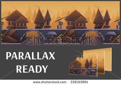 Seamless cartoon medieval city landscape, vector unending background with separated layers for game. - stock vector