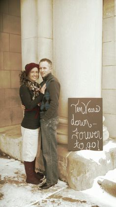 10 year anniversary! Ok, I don't want to do this but man, it's cute! Happy 10 Year Anniversary, Tenth Anniversary Gift, Anniversary Parties, Wedding Aniversary, Wedding Anniversary Photos, Anniversary Ideas, Couples Anniversary Photography, Renewal Wedding, Family Pics