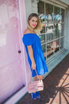Classy and comfortable, this off the shoulder dress is sure to please. Take it to the nines with pumps and your favorite sparkly necklace or wear it on your summer vacation with sandals and a sun hat.