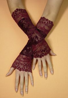 Elegant Burgundy Gothic Gloves with Lace, Fusion Dance, Evening Armwarmers, Tribal, Vampire Victorian, Baroque Mittens, Gypsy Style. $22.00, via Etsy.