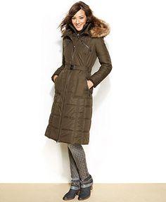 kensie Quilted Faux-Fur Down Puffer Coat
