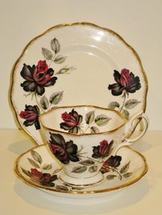This gorgeous trio is made by Royal Albert England, the pattern is Masquerade    | eBay