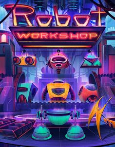 Robot Workshop Cover by Brian Miller, via Behance