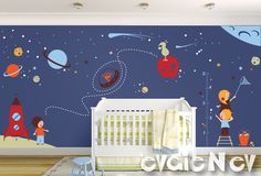 Large Children Wall Decal - Nursery Outer Space Theme with Stars, Spaceship, Aliens and Astronauts- PLOS070. $220.00, via Etsy.