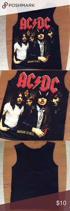 Altered AC/DC Band Shirt Was originally a men's shirt, altered by me. Fits like a woman's small/medium. Can be worn tank top style or off the shoulders (see last picture). In perfect condition, only worn a few times. Tops Tank Tops