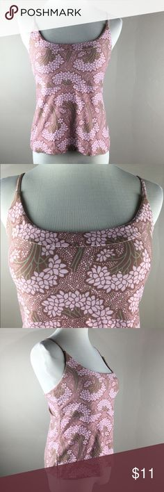 """Patagonia Soft Workout Tank Top--Pink/Tan Cami Semi fit and stretchy, sleeveless, scoop neck with thin spaghetti straps, no inner support or bra-let, cropped length, more like a Cami.   Very soft 92% polyester/8% spandex.  Bust 17-18"""", length 19"""". In excellent condition without fading, frays or snags! Patagonia Tops Camisoles"""