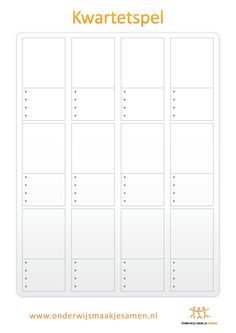 Leeg format om kwartetspel te maken. Goed te gebruiken om met leerlingen een thematisch kwartetspel te maken.