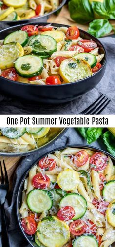This One Pot Summer Vegetable Pasta is a healthy dinner that is a 30 minute meal. This vegetarian/vegan summer vegetable Zucchini Dinner Recipes, Summer Vegetarian Recipes, Yellow Squash Recipes, Summer Squash Recipes, Vegetable Recipes, Healthy Recipes, Vegetarian Kids, Kid Recipes, Pasta With Yellow Squash