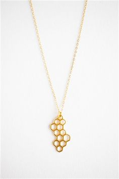 New! 24K Gold Vermeil Honeycomb Necklace  www.talulahlee.com #goldnecklace #honeycomb #goldvermeil #talulahlee
