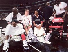 Chicago Bulls - Mike, Luc and Scottie.....chillin' on the bench.