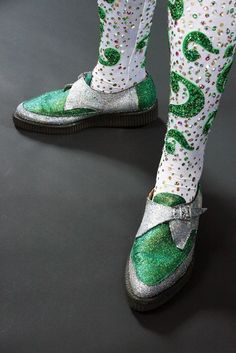 """ 946. Jim Carrey signature ""Riddler"" rhinestone unitard and glitter-covered creepers from Batman Forever. (Warner Bros., 1995) This incredible signature rhinestone unitard was worn by Jim Carrey in..."