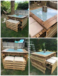 Table et Bancs de Jardin En Palettes / Pallet Garden Table and Bench | 1001 Pallets ideas ! | Scoop.it