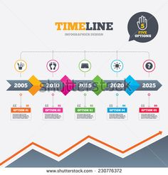 Timeline infographic with arrows. Beach holidays icons. Cocktail, human footprints and swimming trunks signs. Summer sun symbol. Five options with hand. Growth chart. Vector - stock vector