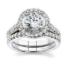 white gold wedding ring settings | Barkev's White gold diamond engagement ring set - 7201SW