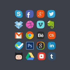 1 20 social badges freebie Top 40 Must Have Social Media Icon Sets from 2013
