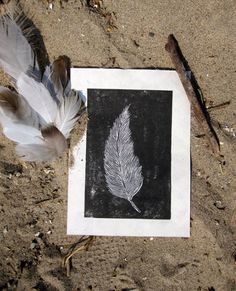 Feather Black and White Linocut Print by HaleyPolinsky on Etsy, $15.00