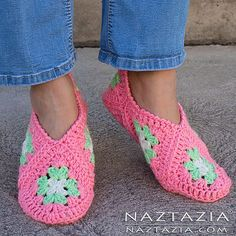 Here's an easy way to make bedroom slippers or booties for adults – using 6 granny squares per shoe.