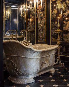 """- Château de Villette: The Splendor of French Decor Photo by Bruno Ehrs for """"Château de Villette. The splendor of French decor"""", published by Flammarion. Bathroom Interior Design, Interior Decorating, Small Bathroom, Master Bathroom, Boho Bathroom, Bathroom Mirrors, Design Rustique, French Decor, French Chateau Decor"""