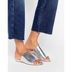 London Rebel Flat Mule Sandal ($40) ❤ liked on Polyvore featuring shoes, sandals, silver, open toe shoes, open toe mules, open toe sandals, mule sandals and open-toe mules