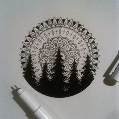 This work has been featured by @insta_blackwork go check them out :) #mandala #ink #illustration #iblackwork #blackwork #linework #blxckink #forest #drawing #arts_help