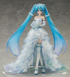 """I swear my eternal love to you."" A new scale figure of Hatsune Miku has been brought to life, this time in a pure white dress based on an illustration by KEI. Her beautiful princess line dress features roses in full bloom and a multi-. Anime Hatsune Miku, Hatsune Miku Outfits, Vocaloid Piko, Kagamine Rin And Len, Kaito, K Project Manga, Action Figures Anime, Figurine Anime, Anime Manga"