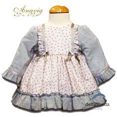 f984ee840 Comprar Vestido de bebe ANAVIG manga larga flor y plumeti