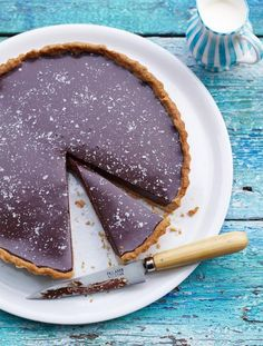 Rich chocolate tart with salt flakes. A super simple chocolate pudding. This salted chocolate tart is so easy to knock up but the addition of salt magically brings out the sweetness | Jamie Magazine
