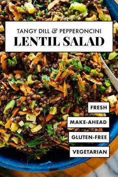 This lentil salad recipe is for you if you love dill, tahini sauce and pepperoncini peppers! It's tangy, crisp-tender, and full of delicious Mediterranean flavor. #cookieandkate #lentilsalad #lentils #vegetarian Pickled Pepperoncini, Pepperoncini Peppers, Lentil Salad Recipes, Vegetarian Recipes, Side Recipes, Whole Food Recipes, Cooking Recipes, Recipe Please, Dinner Salads
