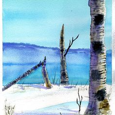 'Birch tree watercolor' by Marko Ivancevic Watercolor Trees, Watercolor Print, Watercolor Paintings, Canvas Art Prints, Framed Art Prints, Canvas Wall Art, Winter Trees, Birch, Lighthouse