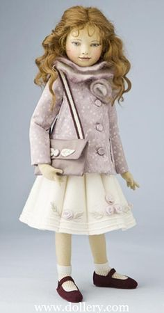 """""""Josette"""" - 16.5 inch felt doll. She is fully articulated using the Iacono unique jointing system. By Maggie Iacono."""