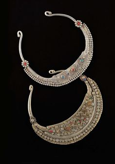 Pakistan | Two silver with inlaid glass collars from the Swat Valley | 350 € ~ sold 2. Central Asia Region Jewellery