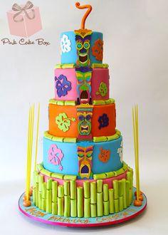 Luau and Tiki Birthday Cake