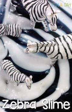 Easy Zebra Slime for a Preschool Zoo Theme Make this super easy zebra slime for a preschool zoo theme (older kids would love it too)! Fun and simple sensory play for the kids - Monde Des Animaux Preschool Zoo Theme, Jungle Activities, Animal Activities, Preschool Crafts, Preschool Ideas, Kids Crafts, Beach Crafts, Teaching Ideas, Teach Preschool