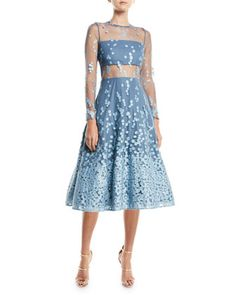 Aliza+Embroidered+Illusion+Fit+&+Flare+Dress+by+Alexis+at+Neiman+Marcus.