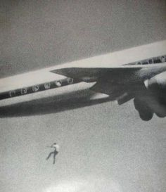 Capturing Death: Keith Sapsford, 14, Australian, hid in the wheel housing of a Japan Air Lines Tokyo-bound jet in Sydney. John Gilspin, an amateur photographer, was testing his new camera lens as the plane took off and unwittingly caught Keith Sapsford's 200-foot plunge to death. 1970.