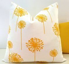 Decorative Pillow Cover, Goldenrod Yellow & White, Cushion, Toss Pillow, Throw Pillow, Accent Pillow, Dandelion  - color code: YYYY