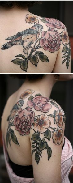 American kestrel with wild roses by Kirsten Holliday @ Wonderland Tattoo…