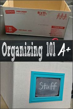 Organizing doesn't have to look frumpy ~ cover a standard box with fabric, add a frame and tag what's in storage