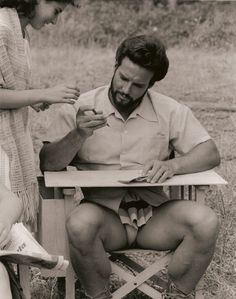 """On location with """"Hercules"""" and the king of the 1950s/early 1960s sword & sandal flicks, Steve Reeves. At the peak of his career, Reeves was the highest-paid actor in Europe."""