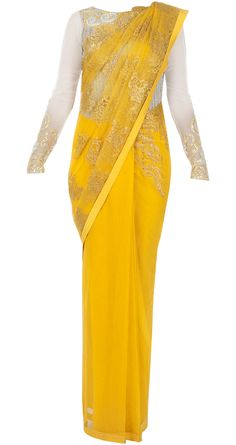 Yellow sari with chantilly palu  possibly for mehndi night.