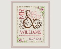 Wedding Cross Stitch Pattern Gift for couple by PatternsTemplates