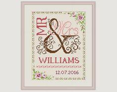 Wedding Cross Stitch Pattern - Gift for couple - Mr & Mrs- Cross Stitch Wedding…