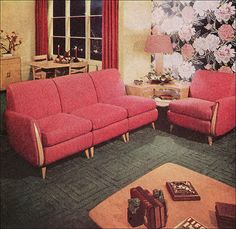 1949 Heywood Wakefield Living Room -This living room seating suite was from the Home Planned Modern line. The ad appeared Ladies Home Journal. Simply stunning.