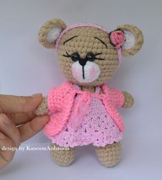 Amigurumi teddy bear  crochet doll  stuffed bear  by KanoonAobaoon