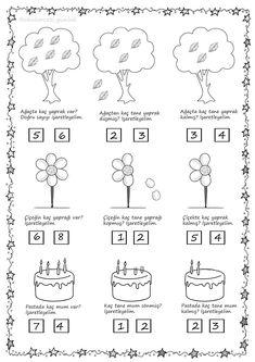 Genel tekrar Free Kindergarten Worksheets, Math Worksheets, Kindergarten Math, Preschool Activities, Preschool Learning, Teaching Kids, Simple Math, Stem Science, First Grade Math