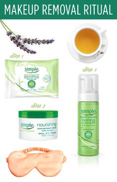Gentle and effective, the Simple 3-piece. Daily Face Care Regimen Kit is safe for sensitive skin. The collection includes: cleansing facial wipes, moisturizing facial wash and replenishing rich moisturizer.