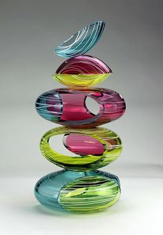 Large Remnant Vessel in Primary Tropics by Justin Hunting: Art Glass Sculpture available at www.artfulhome.com