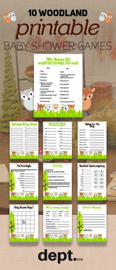 Are you planning a Woodland themed baby shower soon for boys or girls. Then this pack of 10 fun printable woodland baby shower games will go down a treat with your guests. #babyshower #games #printable #printablegames #woodland
