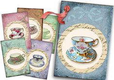 Vintage Tea Tags digital Collage Sheet Shabby Chic by sssstudio, ETSY - great shop for digital TEA printables! ! **
